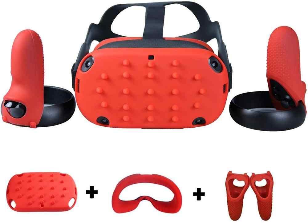 Silikon Kepala Yang Unik Penutup Masker Mata Pad untuk Oculus Quest VR Controller Grip Tahan Guncangan Tahan Keringat Tahan