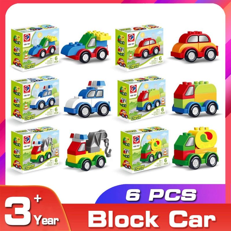 6pcs Building Blocks Juggle Accessory Cartoon Car Model Vehicle Set Toys Transport Bricks Big Particles Domino All Available