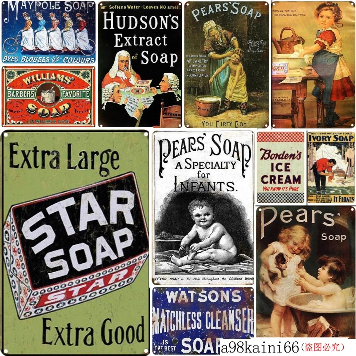 Hudson's Extract of Soap Vintage Tin Sign Bar Pub Club Metal Poster Retro Sign Home Decor Bar Pub Home Wall Decor Retro Metal
