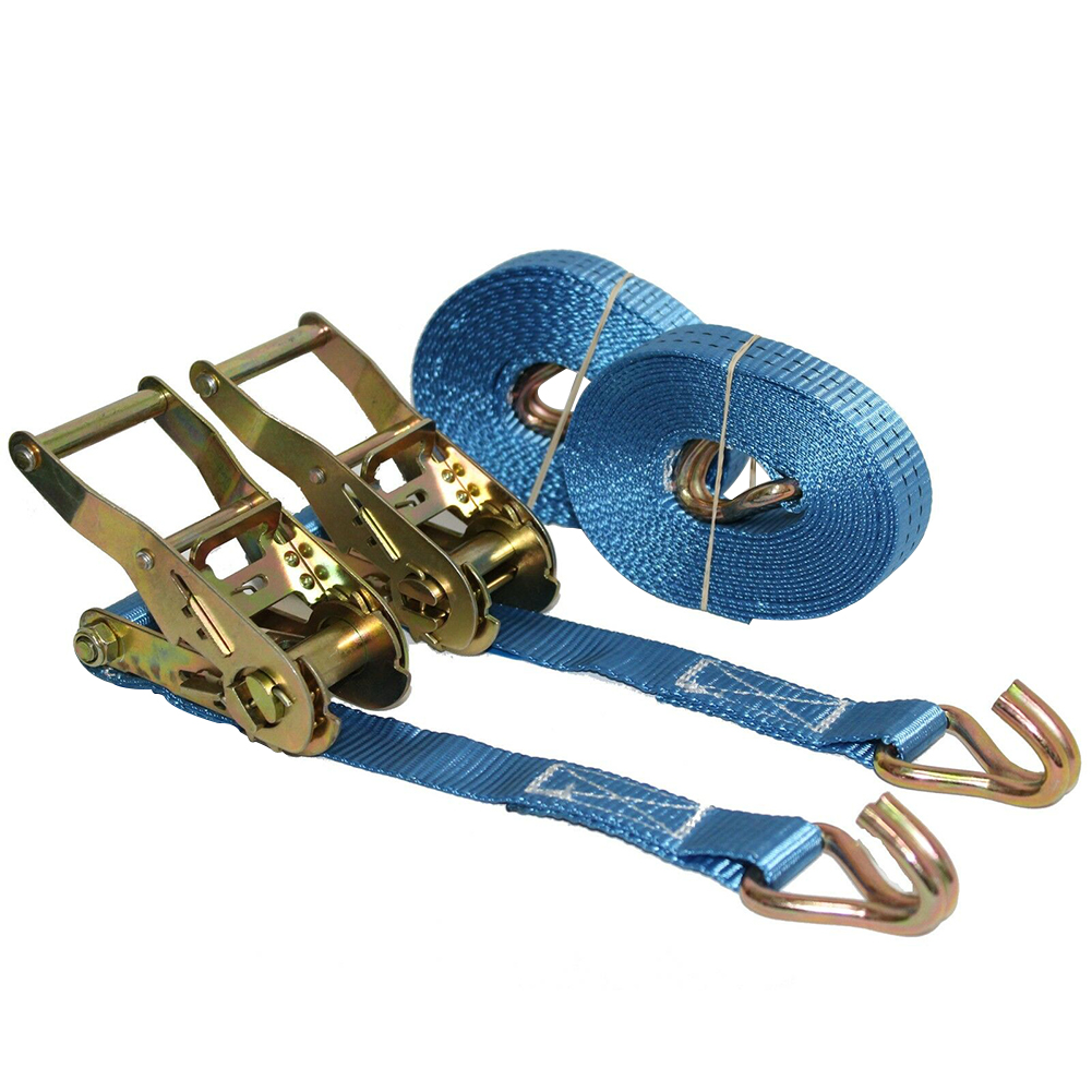 2pcs Car Motorcycle Weaving With Metal Buckle Polyester Universal Wear Resistant Tie Down Blue Tow Rope Cargo Strap Ratchet Belt