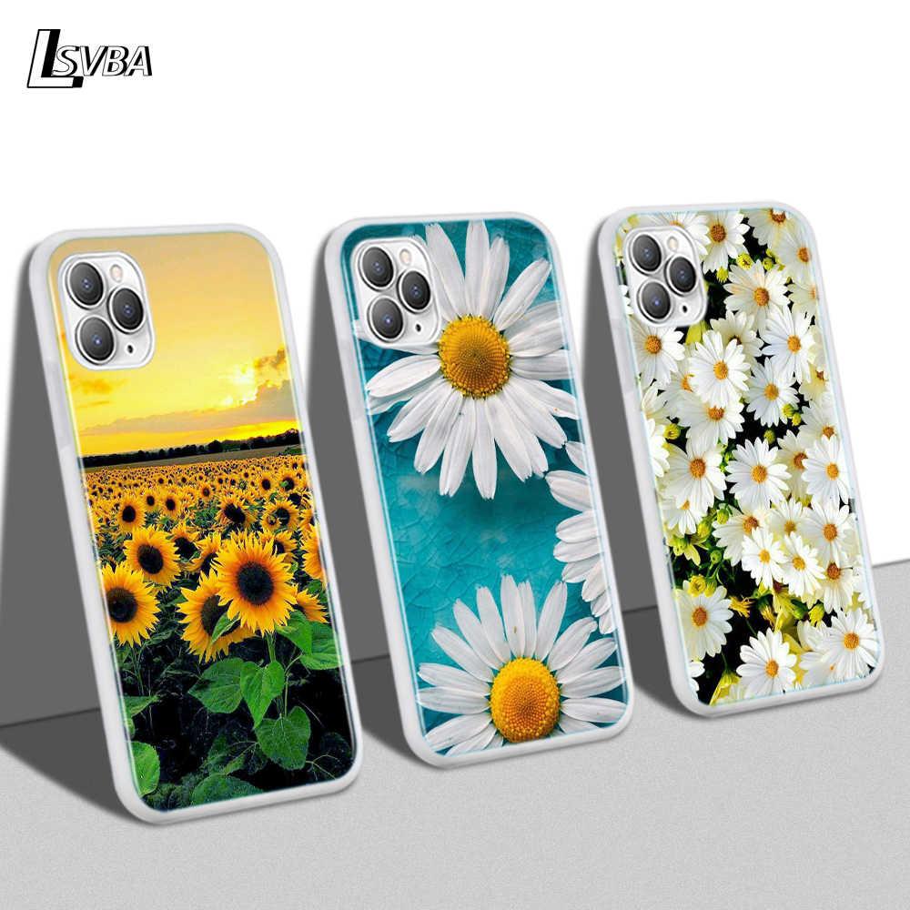 Iphone 11 プロマックス XS 最大 XR × 8 7 6S 6 プラス 5 5s 電話ケースソフトシェル夏デイジーひまわり