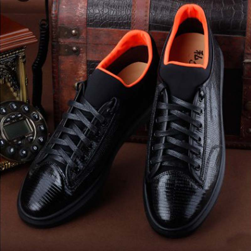 ourui true  Lizard skin  men  Casual shoes  black  Genuine leather  sandals  Men's shoes men shoes