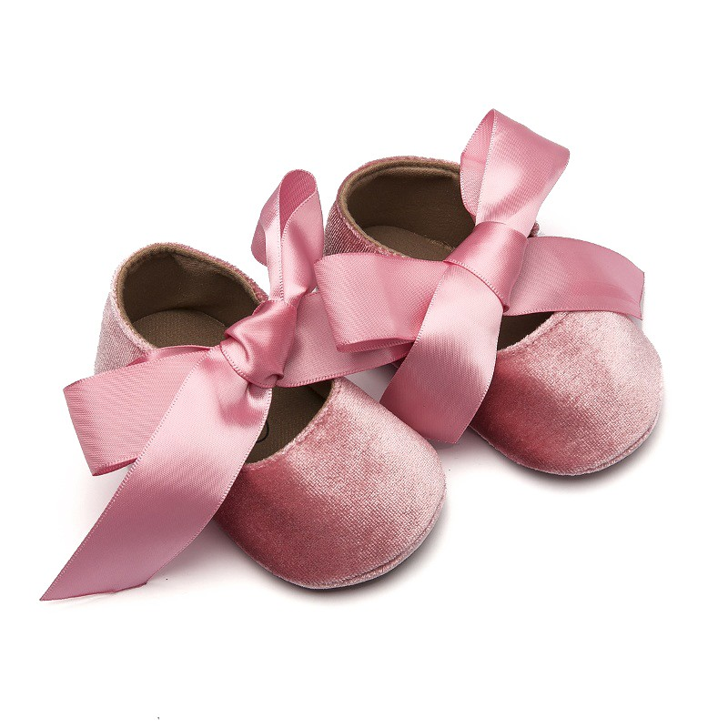 2019 New Newborn Baby Girls Shoes PVC Buckle First Walkers With Bow Red Black Pink White Soft Soled Non-slip Crib Shoes