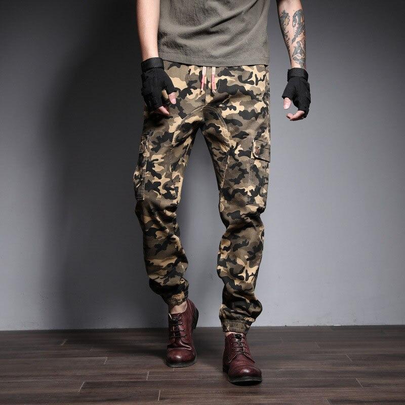 Casual Pants Men 2019 Spring New Large Size Men's Cotton Trend Camouflage Casual Pants Men's Elastic Tool Large Size Men's Pants