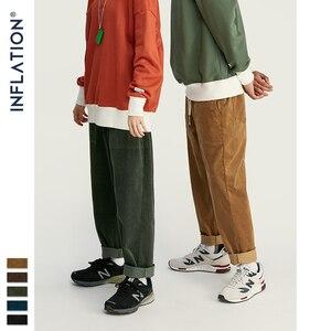 Image 5 - INFLATION 2020 Collection Men Casual Pants Wide Wale Men Corduroy Slacks Loose Fit Overalls Solid Color Men Corduroy Pant 93325W