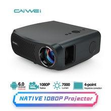 Feixe projetor 4k android 6.0 bluetooth wifi hd completo 1920x1080 suporte nativo 7200 lumens sem fio projetor de vídeo de cinema em casa