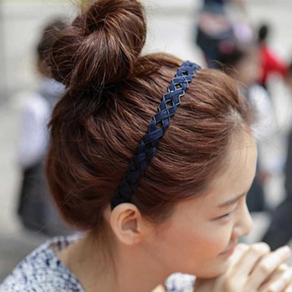 Модная женская широкая синяя вязаная волнистая повязка на голову, обруч для волос, аксессуары для волос, простой головной убор для девушек, украшение, головной убор, новое поступление