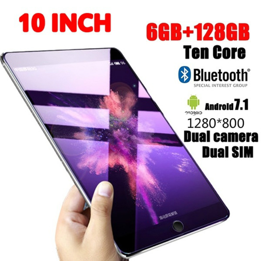 1280*800 IPS Screen 10 Inch Ten Core 6GB+128G Android 7.1 WiFi Tablet PC Dual SIM Dual Camera 4G WiFi Call Phone Tablet Gifts