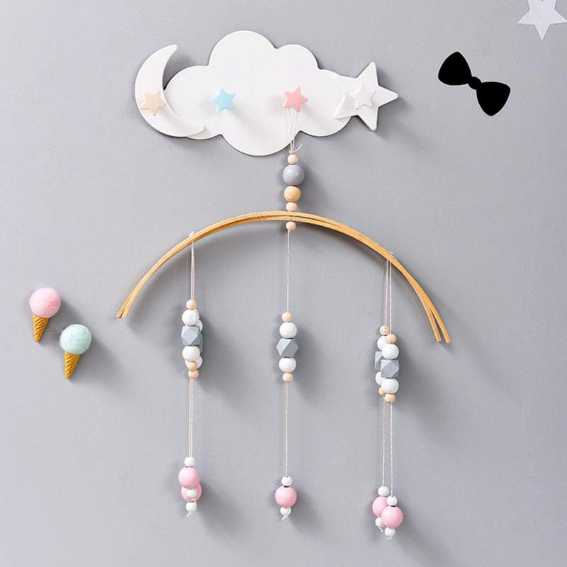 Star Moon Cloud Shape Hooks Creative Wall Mounted Key Holders Nail Free 4 Hooks For Foyer Bathroom Kitchen