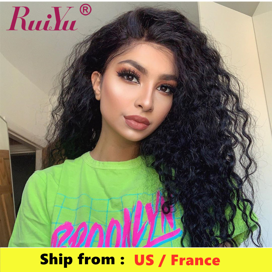 Glueless Remy Water Wave Wig RUIYU Natural Wig Brazilian Curly Lace Front Human Hair Wigs 360 Lace Frontal Wig 150 Density
