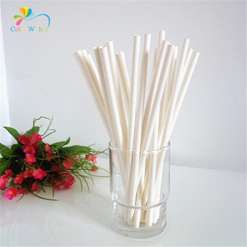 Pack Of 25pcs Solid White Party Paper Drinking Straws Wedding Baby Shower Anniversary Festive Birthday Party Table Supplies