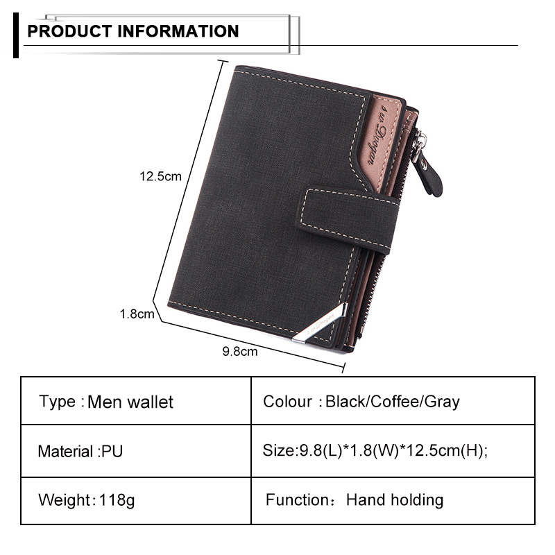 Hed306c644bc24364a931b9294918cb97T - New Business men's wallet Short vertical Male Coin Purse casual multi-function card Holders bag zipper buckle triangle folding