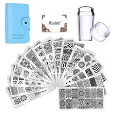 Biutee 15 adet farklı tasarımlar tırnak plakaları Nail Art damga damgalama tabaklar + 1 adet Stamper DIY tırnak manikür aracı seti