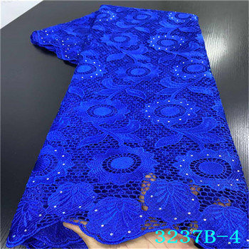Blue African Lace Fabrics 2019 High Quality Lace Nigerian Tulle Lace Fabric Gold Line Milk Silk French Net Lace Fabric QF3237B-4