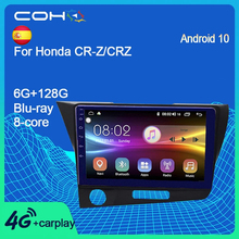 COHO Radio Multimedia con GPS para coche, Radio con reproductor, Android 10,0, 8 núcleos, 6 + 128G, Navegador, para Honda CR Z/CRZ