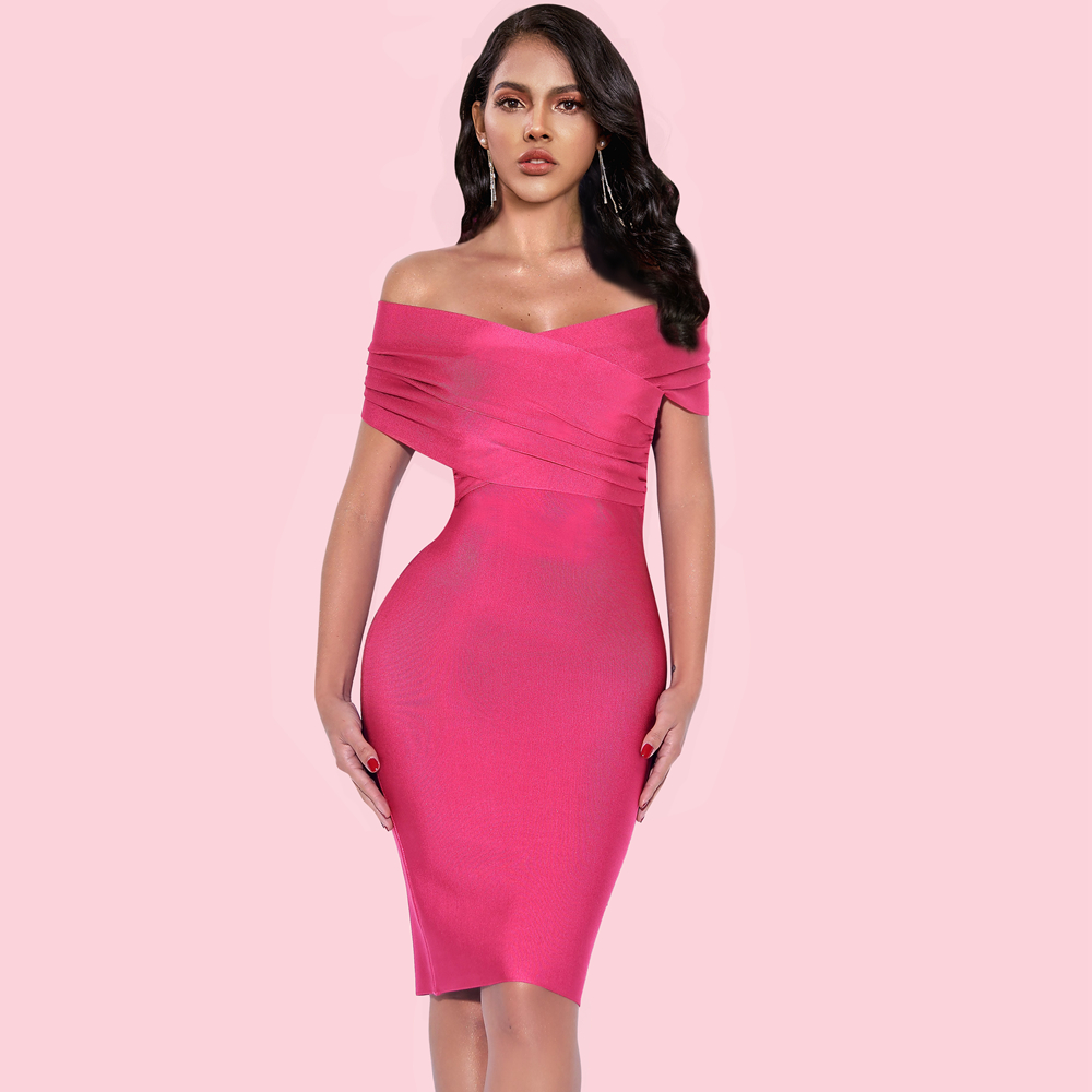 Ocstrade New Bandage Dress 2020 Summer Clothes for Women Sexy Hot Pink Bandage Dress Bodycon Celebrity Club Evening Party Dress