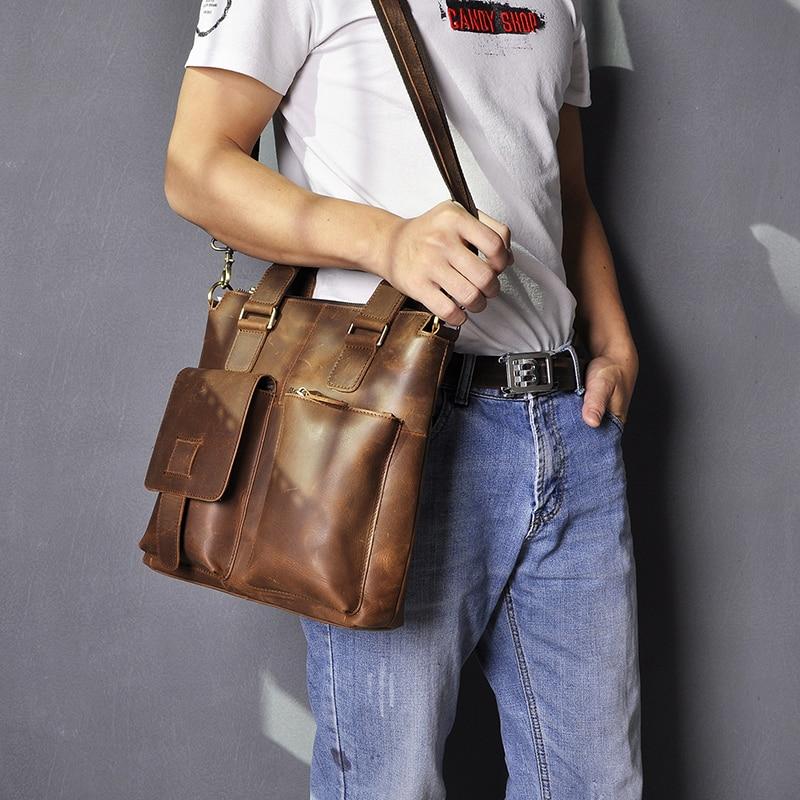 """Hed30a36501d04e3893b21f71f7f48f6a8 Men Original Leather Retro Designer Business Briefcase Casual 12"""" Laptop Travel Bag Tote Attache Messenger Bag Portfolio B259"""
