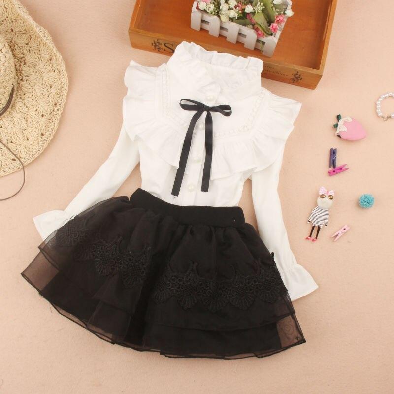 2-16Yrs White Blouse for Big Girls Ruffle Sleeve Tops Black Bow Shirts Girls Teenage Clothes School Uniform Autumn White Tops
