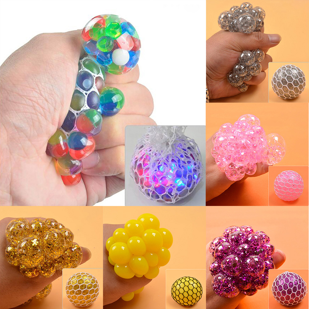 Hand-Fidget-Toy Balls Squeeze-Ball Stress Relief Rainbow Mesh Novetly