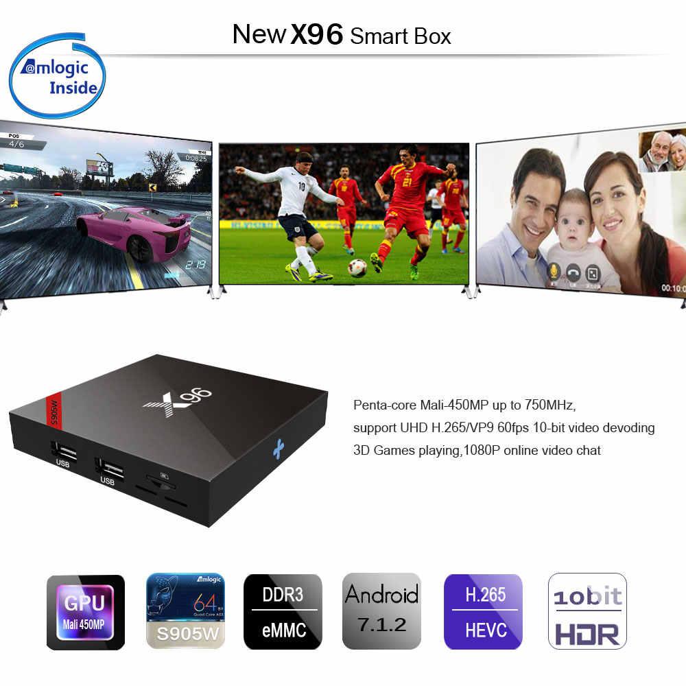 X96 Android 7.1 Smart TV Box WiFi S905W Quad Core Set Top Box 4K Chơi Phương Tiện X 96X96 W Set-Top-Box