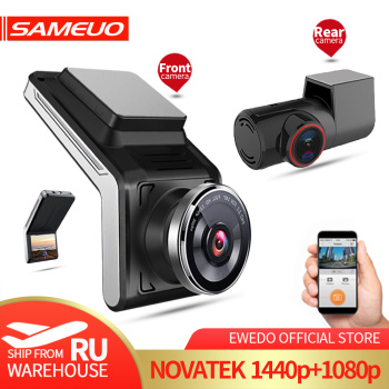 Sameuo U2000 WIFI dash cam 2k front and rear 1080p 2 camera Lens CAR dvr smart car dvrs Auto Night Vision 24H Parking Monitor - discount item  37% OFF Car Electronics