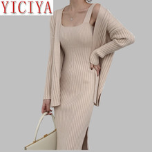 luxury set cardigan suit dress with cardigan winter Women's Casual Long Sleeved Cardigan + Suspenders Sweater Vest Dress 2 pice