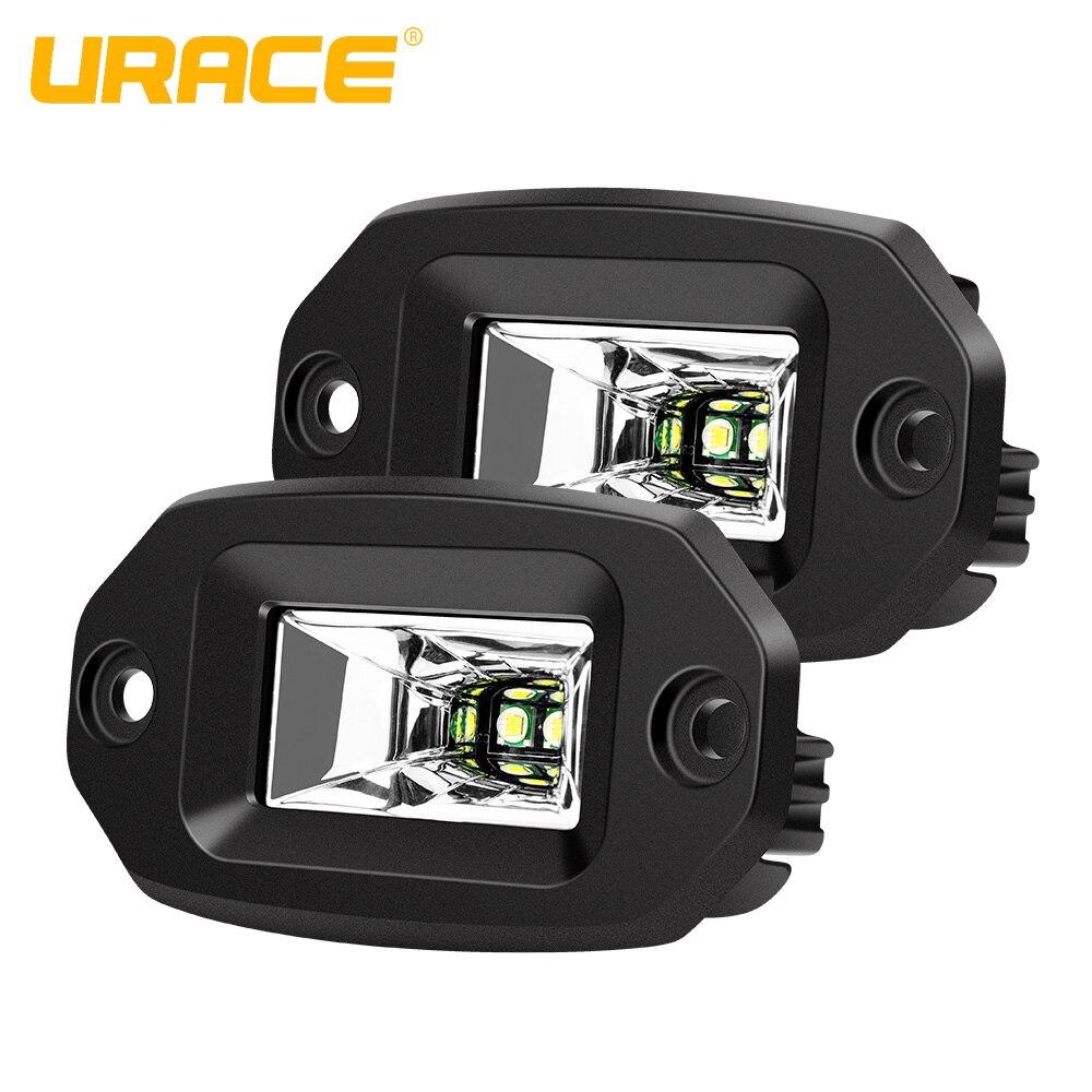 URACE 2pcs 4'' 20W LED Work Light 12V 24V Flush Mount LED Pod Flood Offroad Driving Fog Lamp For Car 4x4 4WD Pickup ATV LED Bar