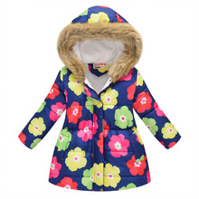 купить 36 Colors Winter Girls Warm Jackets Kids Fashion Printed Thick Outerwear Children Clothing Autumn Baby Girls Hooded Coats YJ137 дешево