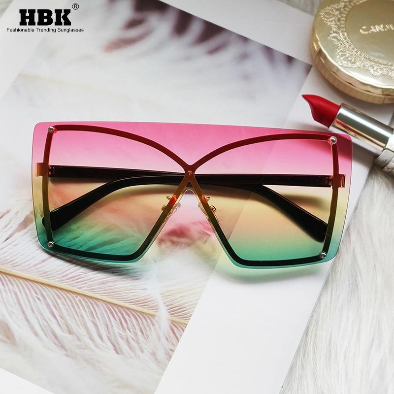 Fashion Oversized Rimless Sunglasses Women Square Italian Brand Design Sun Glasses One Piece Pink Green Eyewear Shades UV400