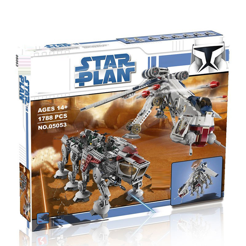 In stock 05053 Lepining Star wars Plan Series The 10195 Republic Dropship with AT-OT Walke Building Blocks Bricks Toys Kids