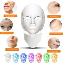 Светодиодный косметическая маска для лица фотонная терапия 7 цветов светильник для ухода за кожей омоложение морщин удаление акне уход за лицом спа салонный инструмент