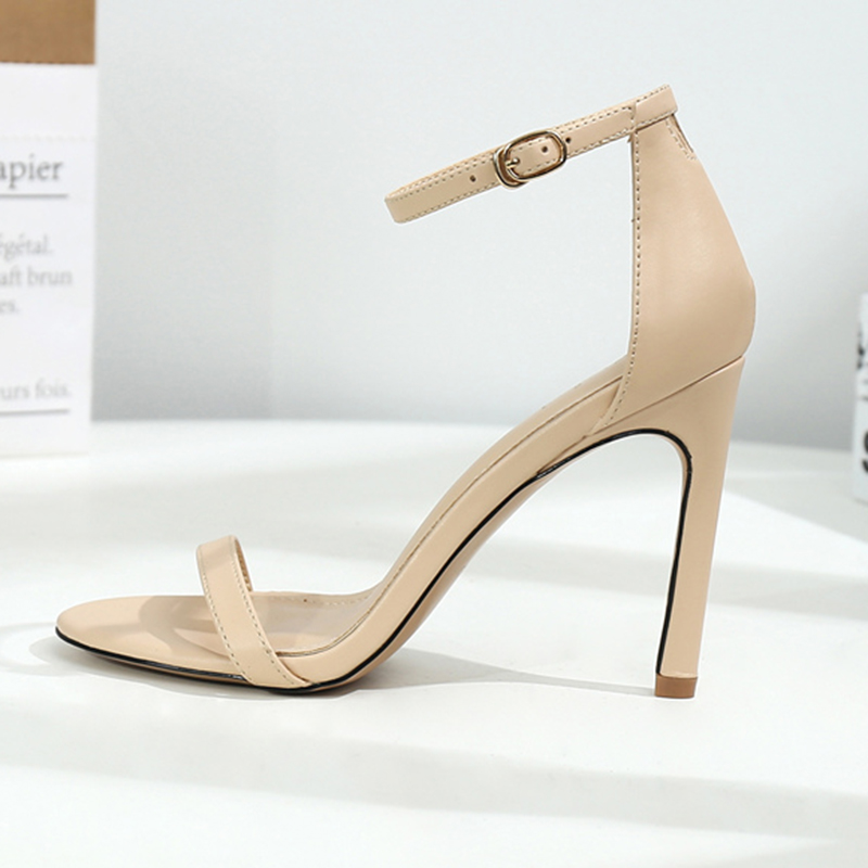 2019 Women <font><b>10</b></font> 8 6cm High Heels Sandals Lady Fetish Stripper Plus Size 33-43 Strappy Shoes Stripper Stiletto Low Heels Nude Pumps image