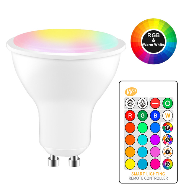 8W IR Remote Control GU10 RGB LED Bulb  85 265V Atmosphere Lighting 16 Color Changeable Decorative Lights Warm white
