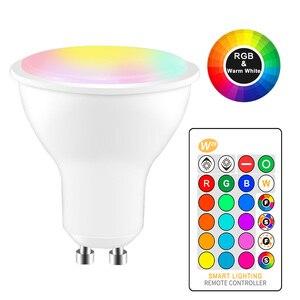 Image 1 - 8W IR télécommande GU10 RGB LED ampoule 85 265V atmosphère éclairage 16 couleurs modifiables lumières décoratives blanc chaud