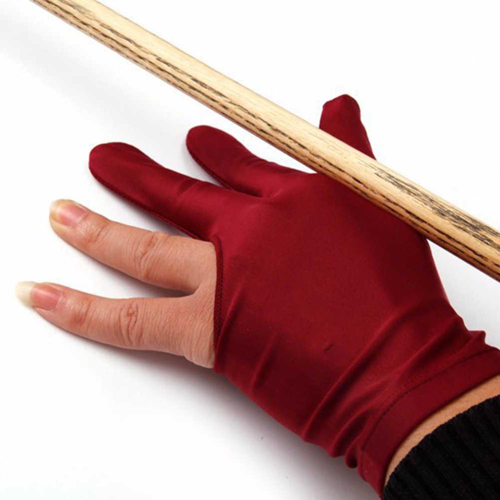 1Pcs Spandex สนุ๊กเกอร์บิลเลียดคิวถุงมือมือซ้ายมือเปิด Three Finger ACCESSORY สำหรับ Unisex หญิงและชาย 4 สี