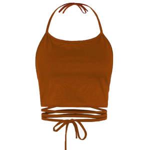Backless Vest Tank-Tops Camisole Crop-Top Crochet HALTER Womens Summer Sleeveless Bandage