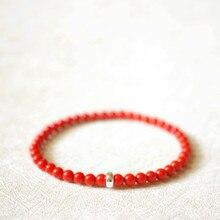 Lily takı kırmızı mercan 925 ayar gümüş bilezik yeni yıl hediye kadınlar veya erkekler için Dropshipping
