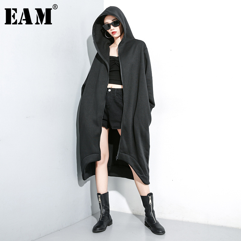 [EAM] Women Black With Fleece Big Size Trench New Hooded Long Sleeve Loose Fit Windbreaker Fashion Tide Spring Autumn 2020 1K030
