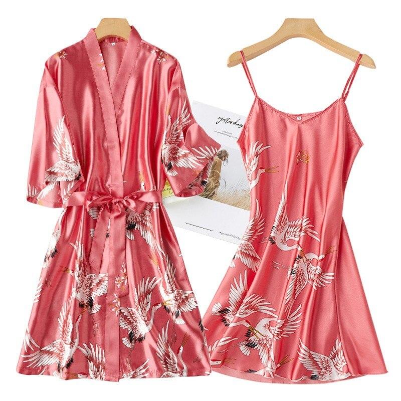 Women Rayon 2PCS Robe Set Bride Bridesmaid Wedding Robe Gown Lace Sexy Kimono Bathrobe Night Dress Casual Nightgown Sleepwear