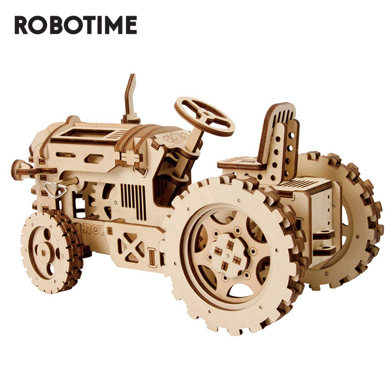 Robotime DIY Mechanical Gear Drive Tractor Model Building Kit 3D Wooden Puzzle Assembly Toys For Kids Drop Shipping LK401