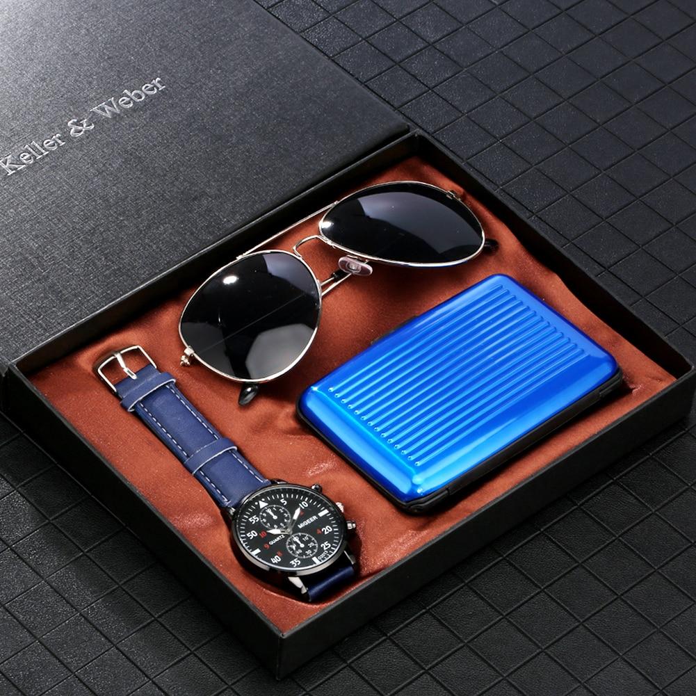 Moda dos homens relógio óculos de sol caso cartão de crédito/carteira presente conjunto com caixa masculino luminoso mãos relógio quartzo relógios presentes dropship