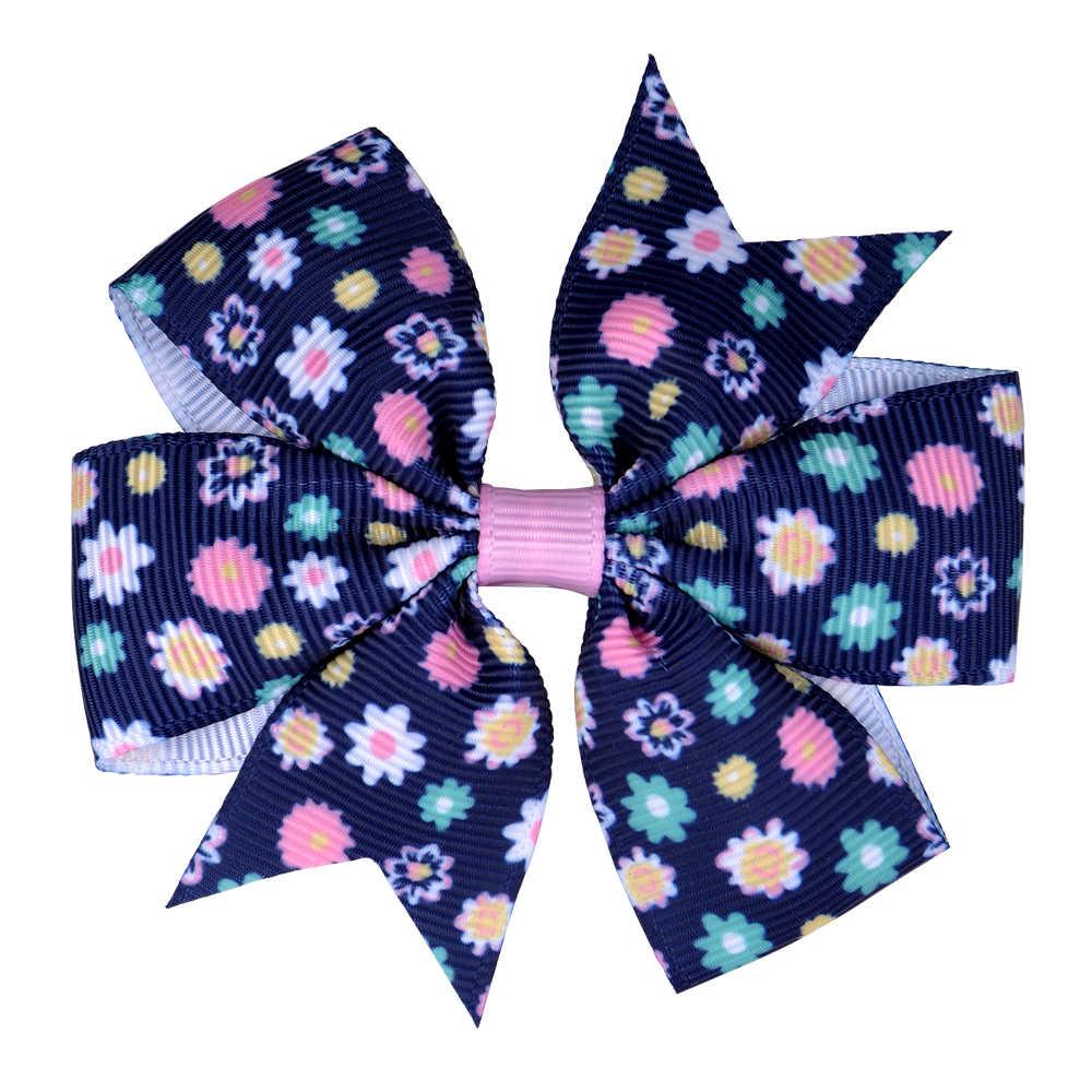 20 шт./лот 3,2 дюйма печать цветок Grosgrain ленты волос банты для детей девочек ручной работы бант аксессуары для волос 039