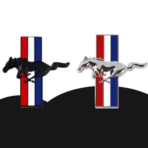 Image 1 - 1Pair Door Fender 3D Emblem Car Sticker Running Horse For Ford Mustang Badge Logo Decal Car Styling Free Shipping