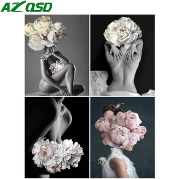 AZQSD Oil Painting By Numbers Flower On Canvas Set Decor For Home Frameless Nude Girl Handpainted Gift