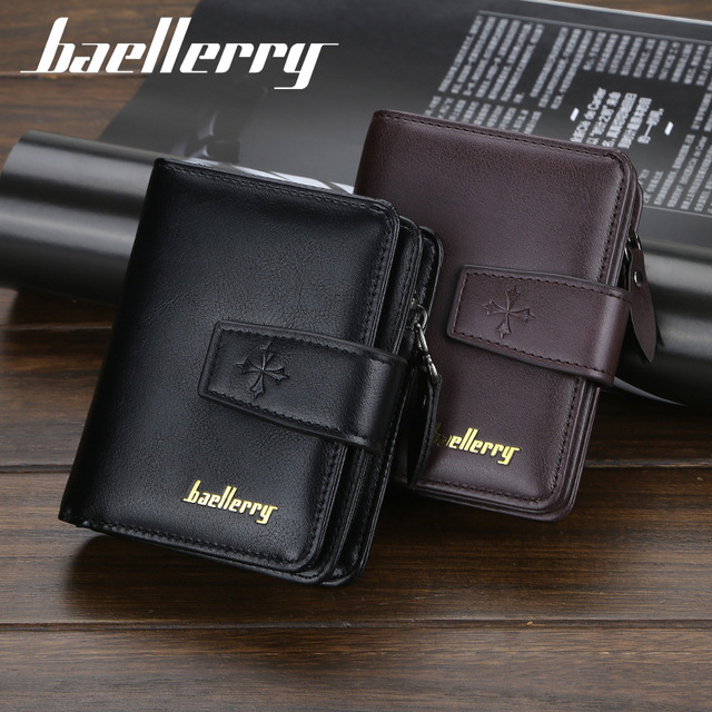 New Business Men Wallets Zipper Card Holder High Quality Male Purse New PU Leather Vintage Coin Holder Men Wallets 5