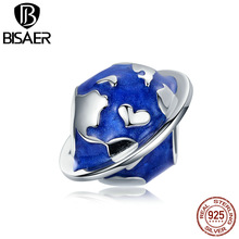 Earth Charms BISAER 925 Sterling Silver Blue Beads Fine Jewelry GAC162