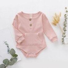 Детские комбинезоны с длинными рукавами и карманами для маленьких детей 0-24 месяцев; детские комбинезоны для девочек и мальчиков; комбинезон; Одежда для новорожденных
