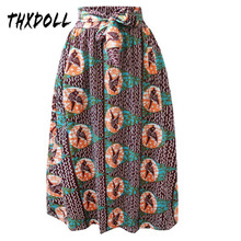 African printing skirt bright color fashion ethnic ladies wedding maxi women with bow