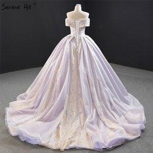 Image 2 - שלווה היל סגול תחרה ואגלי פרל שרוולים שמלות כלה 2020 כבוי כתף סקסי כלה שמלות DHM67082 תפור לפי מידה