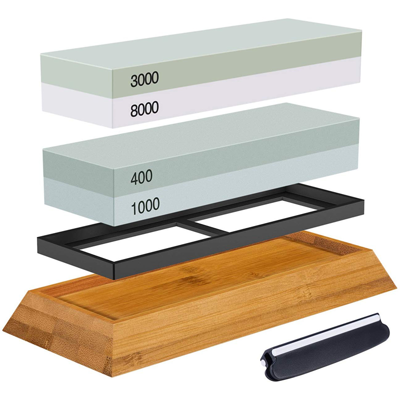 2-IN-1 Sharpening Stone Set Whetstone 400/1000 <font><b>3000</b></font>/<font><b>8000</b></font> <font><b>Grit</b></font>, Waterstone Wooden Holder and Knife Guide Included image